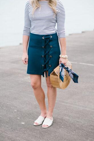 skirt tumblr lace up mini skirt blue skirt shoes white shoes slide shoes bag top stripes striped top