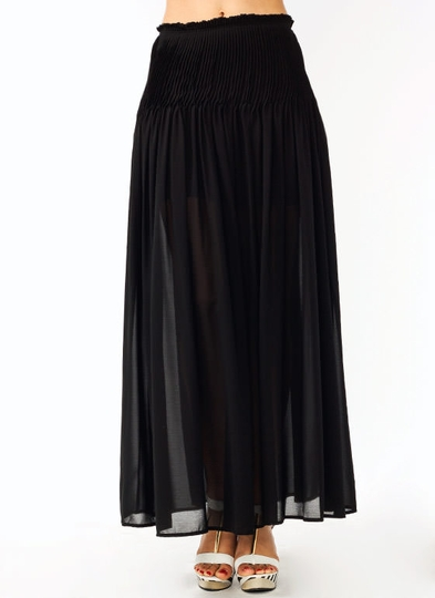 pleated-chiffon-maxi-skirt BLACK IVORY NAVY - GoJane.com