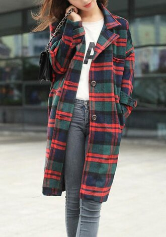 coat gingham classy long sleeves