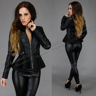 jacket leather faux peplum stylish black fashion
