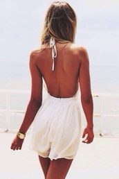 dress,white dress,white jumpsuit,no back,beautiful,white,low back,light,horta,jumpsuit,classy,summer,cute dress,open back,romper,halter neck