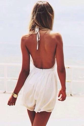 dress white dress white jumpsuit no back beautiful white low back light horta jumpsuit classy summer cute dress open back romper halter neck