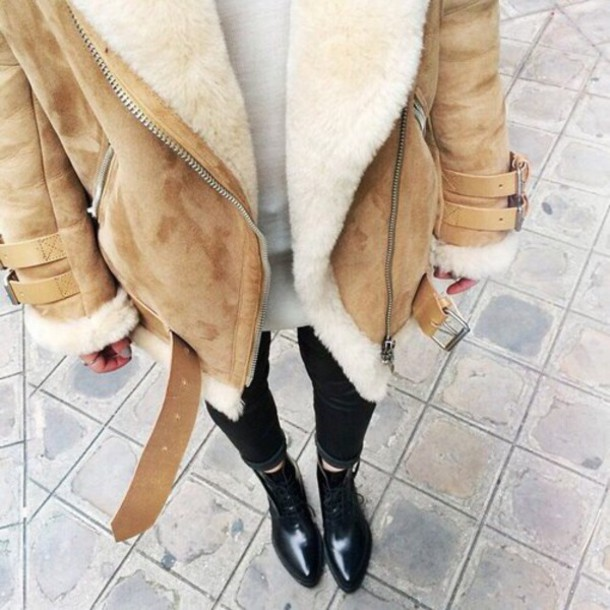 Coat: jacket, shearling jacket, winter coat, brown shearling ...