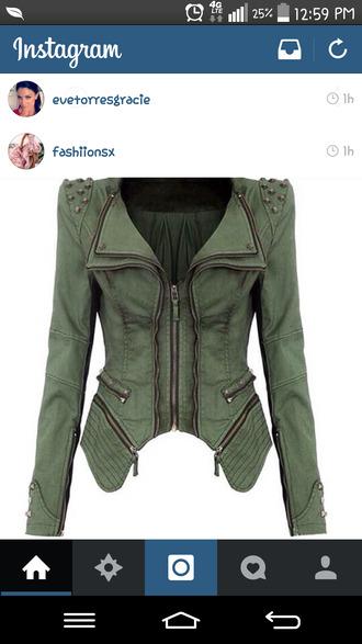 jacket army green jacket studs zip womens jacket