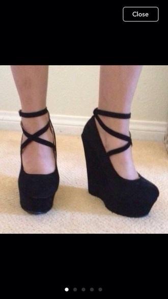 shoes black heels wedges high heels