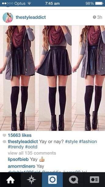 scarf shirt burgundy scarf black leather skirt grey long sleeve skirt jacket outfit coat socks shoes