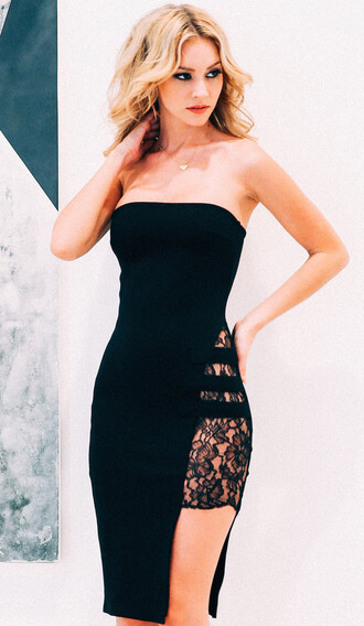 dress open side open side dress lace dress lace tube tube dress black dress black