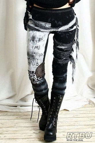 leggings zombie ripped up dark awesome style