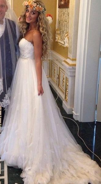 dress white dress pro wedding dress wedding clothes wedding wedding hairstyles wedding accessories 2015 wedding dresses beauty wedding white pretty