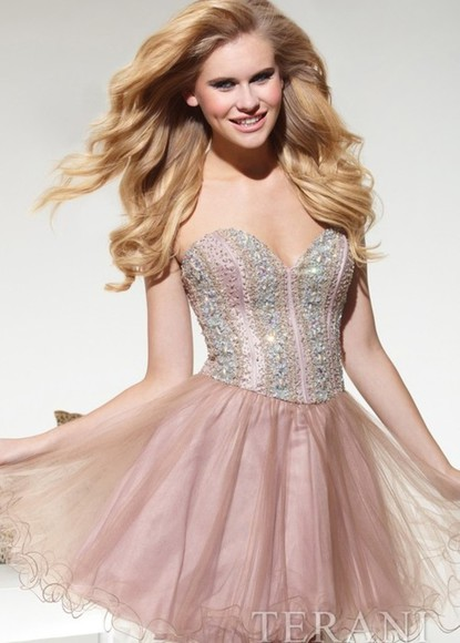 tulle dress pretty short jewels prom homecoming pink strapless