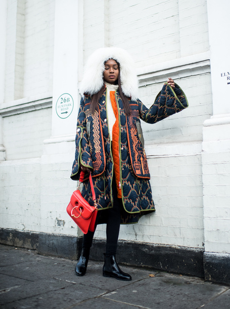 coat hooded coat tumblr oversized oversized coat printed coat bag red bag JW Anderson bag boots black boots ankle boots