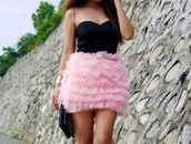 dress,black,prom dress,tulle skirt,strapless dress,sweetheart neckline,pink,baby pink,short dress,party dress,special occasion,skirt,tutu,tul,sexy
