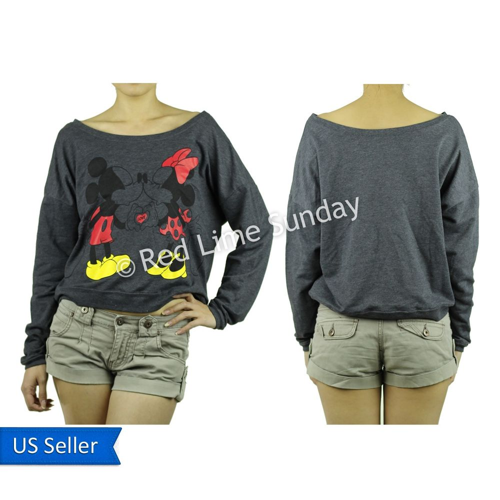 Disney mickey minnie mouse love gray print sweatshirt pullover sweater s m l xl