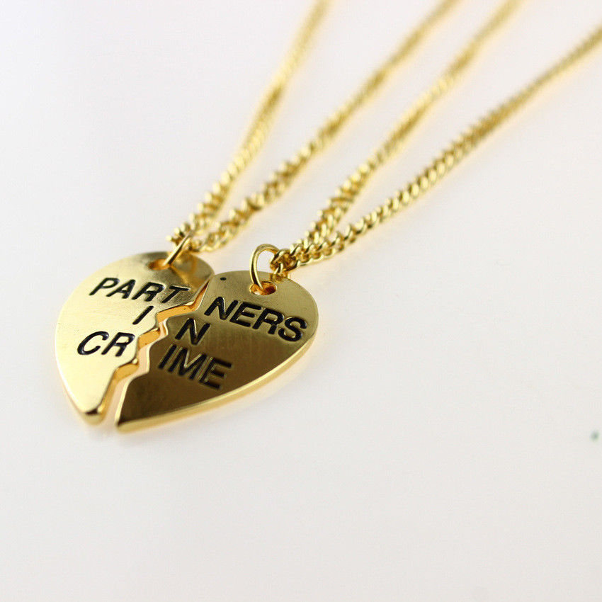 New 2014 Fashion Jewelry Gold Necklace Best Friends Partners In Crime Necklaces