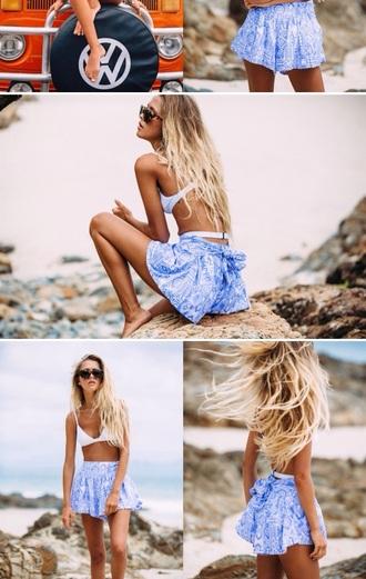 skirt blue skirt blue shorts beach beach skirt beach shorts surfer shorts style summer shorts summer skirt summer bikini bra swimwear
