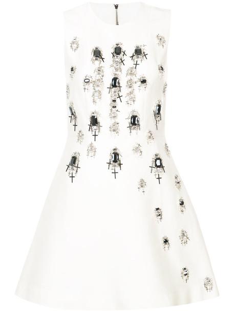 Thomas Wylde dress embellished dress cross women embellished white cotton silk