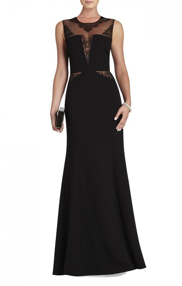 bcbg sachie lace-insert gown
