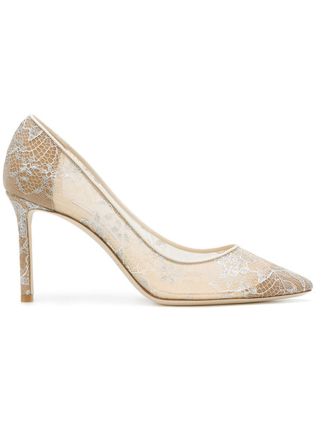 Jimmy Choo women pumps lace leather nude shoes