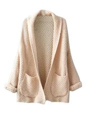 cardigan,Choies,long-sleeve-knit,beige-lapel-pocket-detail,open front
