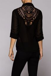 top,black top,black blouse,black shirt,lace blouse,lace back top,open lace top,three-quarter sleeves,www.ustrendy.com