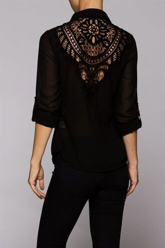 top black top black blouse black shirt lace blouse lace back top open lace top three-quarter sleeves www.ustrendy.com