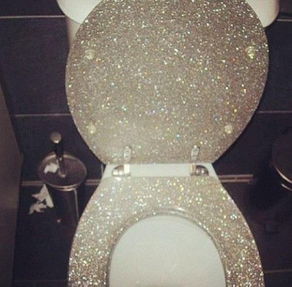 New Quality Silver Glitter Sparkle Resin Toilet Seat