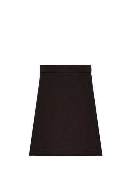 Raey - Split Side Wool Blend Twill A Line Skirt - Womens - Navy