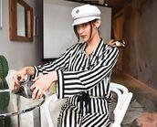 pants,blouse,stripes,striped shirt,bella hadid,model