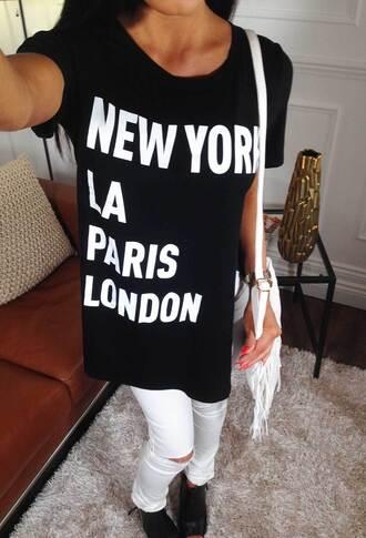 t-shirt pin kboutique pink boutique new york la paris london casual black t-shirt