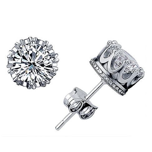 Sterling silver crown swarovski stud earrings