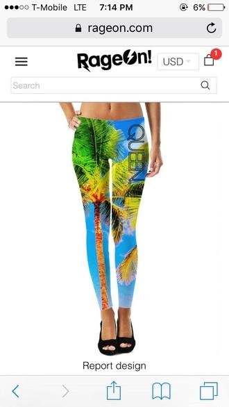 leggings tropical tropical leggings cute leggings colorful colorful leggings beach palm tree print palm tree leggings