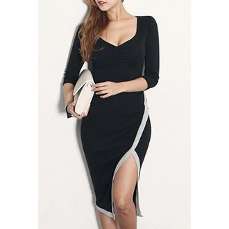 dress black long sleeves slit dress sexy women's sweetheart neck slit 3/4 sleeve dress fashion style trendy girly rose wholesale-dec