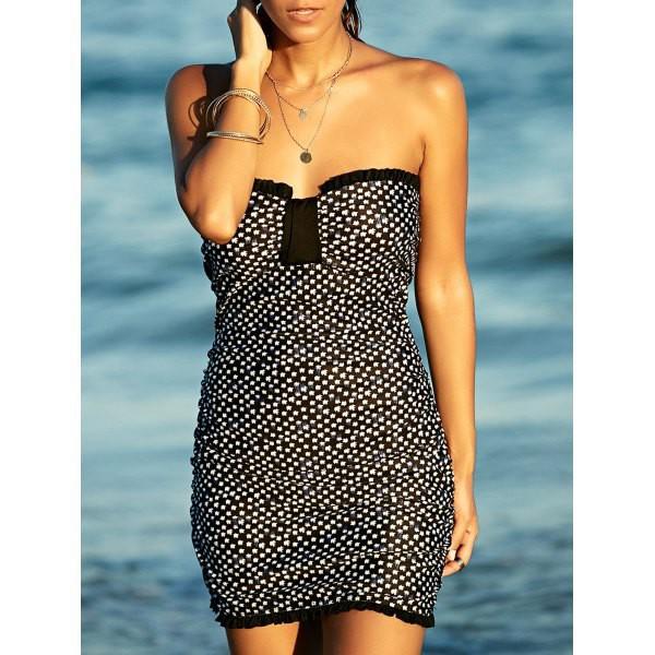dress summer trendy fashion strapless cute beach spring black and white black dress rosewholesale.com