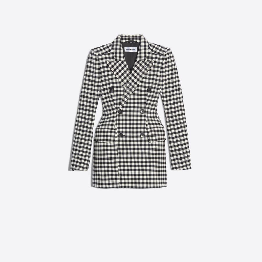 Women's BLACK / WHITE  Hourglass Double Breasted Jacket  | Balenciaga