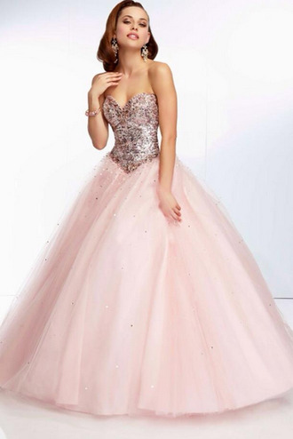 dress prom pink glitter cinderella princess ball quinceanera dress homecoming dress
