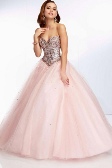 cinderella dress prom pink glitter quinceanera dress princess ball homecoming dress 2013