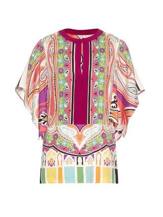 blouse floral print silk paisley pink top
