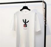 t-shirt,cactus shirt,white,shirt,cute