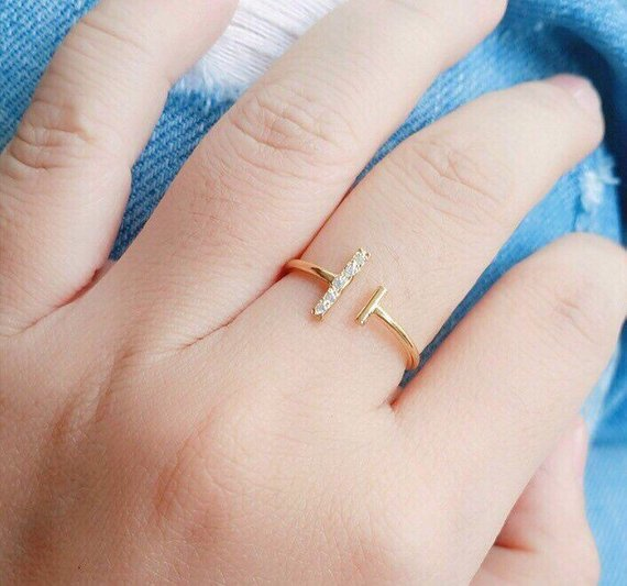 Cz T Open Ring - Gold Bar Ring - Cubic Zirconia T Bar Ring - Cute Ring - Silver Jewelry