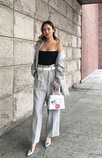 bag purse pants top blazer blogger instagram fashion week jamie chung strapless