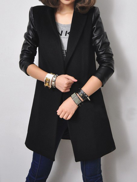 Black Notch Lapel Contrast Leather Long Sleeve Coat - Sheinside.com