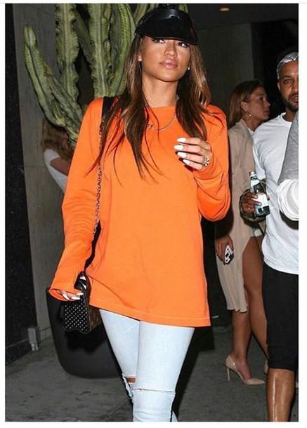 sweater orange hipster