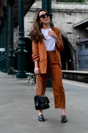 jacket,blazer,pants,orange suit,suit,top,white top,sunglasses,shoes,black flats