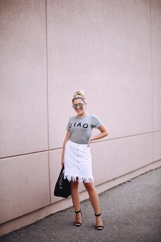 stephanie sterjovski - life + style blogger t-shirt skirt sunglasses bag sandals high heel sandals grey t-shirt handbag white skirt summer outfits