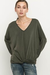 top,olive green,green,twisted hem,gathered hem,v neck,jersey