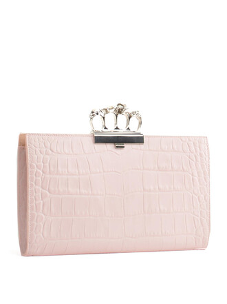 skull clutch leather print pink bag