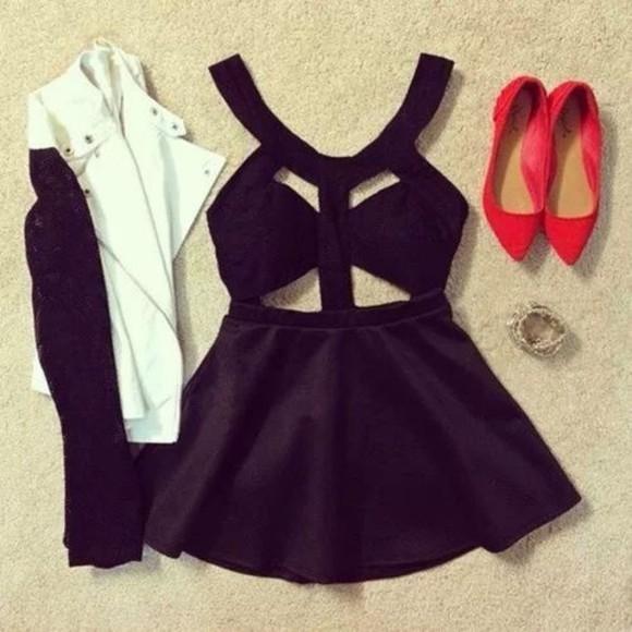 short jewels shoes dress little black dress jacket cool summery little black dress hot black skater dress crop