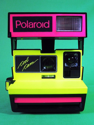 polaroid camera photography colorblock neon 80s style technology jewels