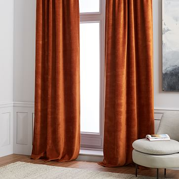 Worn Velvet Curtain - Copper