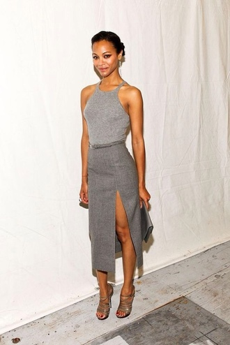 dress prom dress skirt slit skirt top grey top all grey outfit all grey everything grey skirt midi skirt high heel sandals sandals silver sandals zoe saldana celebrity bag silver bag